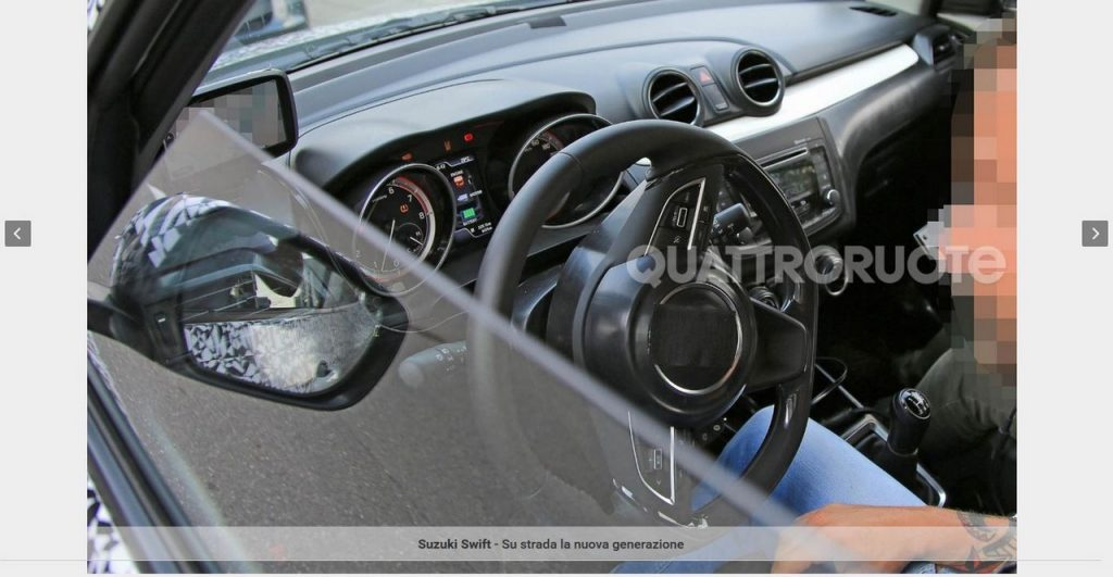 2017 Maruti Swift interior spy shot