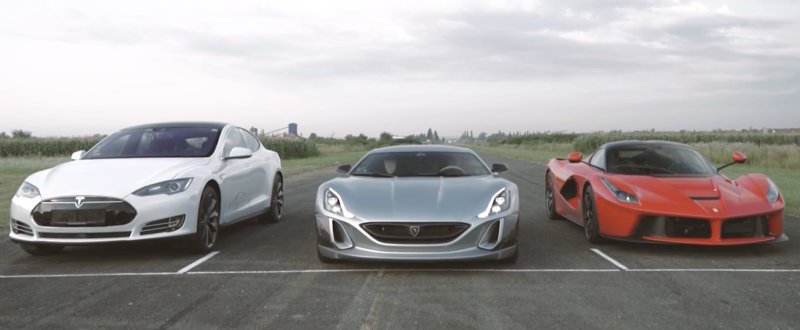 Watch Rimac's Concept One roast a LaFerrari and Tesla Model S in a drag race