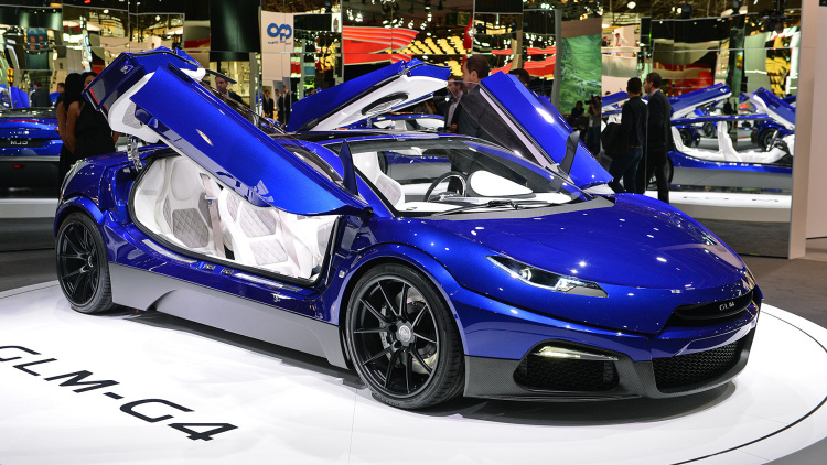 GLM G4 electric supercar makes its way from Japan to Paris