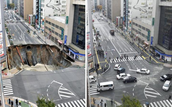 Japan Fixes Fukuoka City Sinkhole In 2 Days
