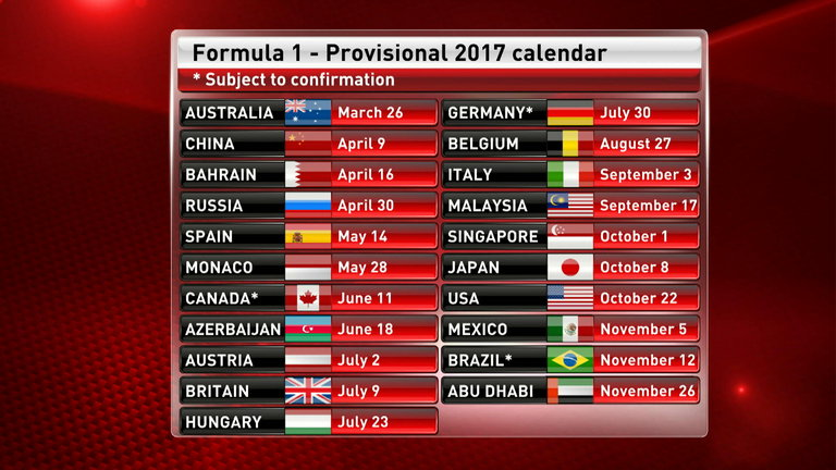 Final version of F1 2017 calendar released