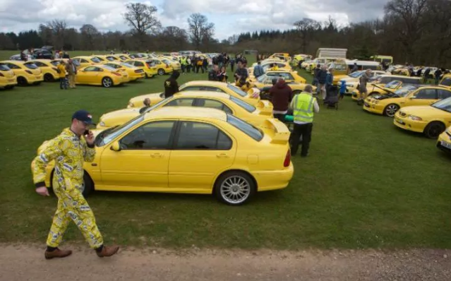 Yellow car owners hold rally in support of pensioner whose 'ugly car' was targeted by vandals for ruining view in Cotswolds village