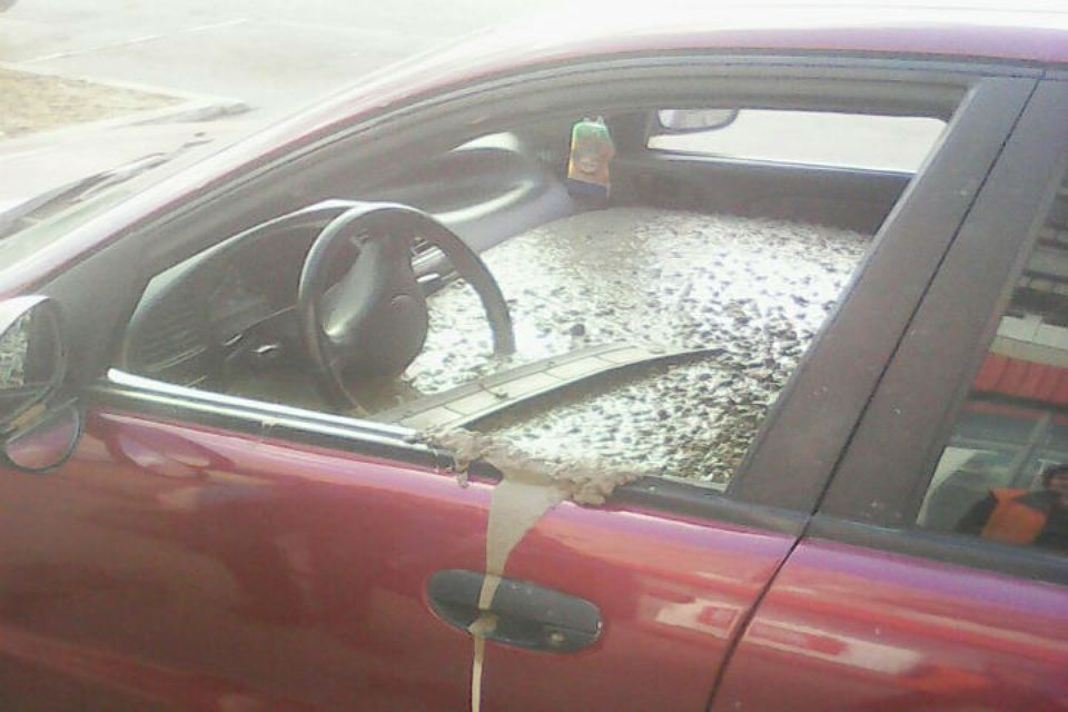 Angry husband fills wife's car with concrete