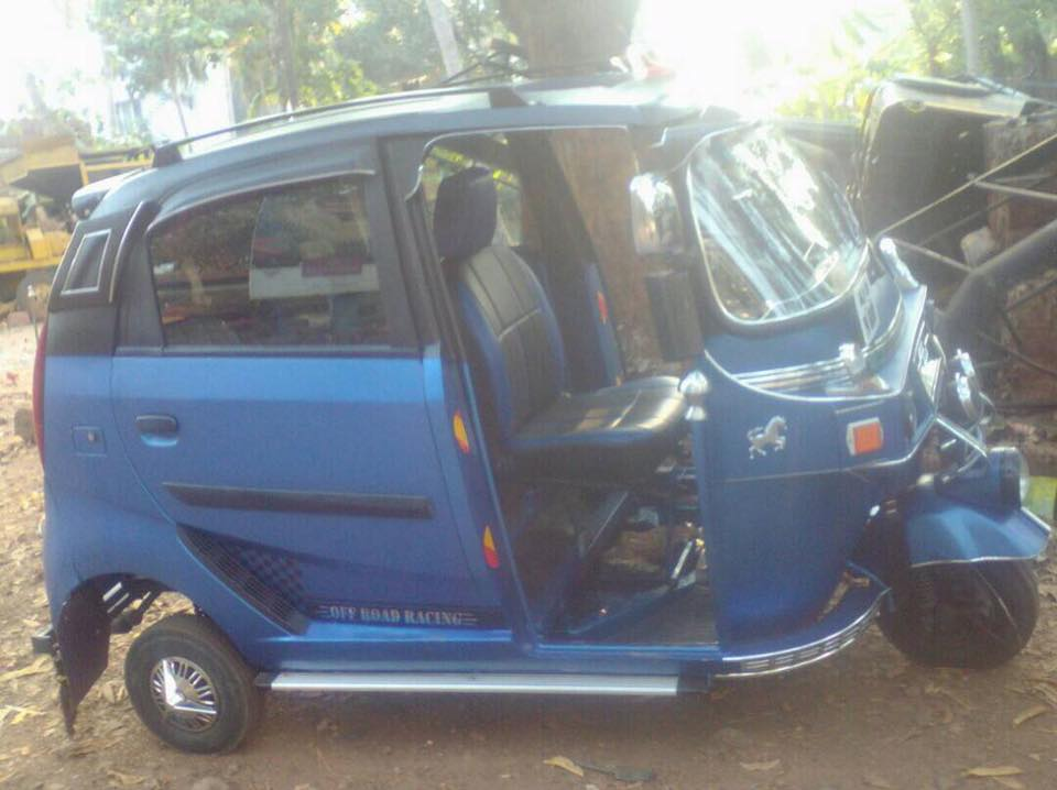 3-wheeled Auto Rickshaw modded with Tata Nano doors