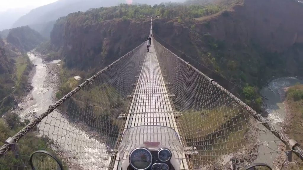 Royal Enfield Himalayan crossed Nepal's tallest suspension bridge