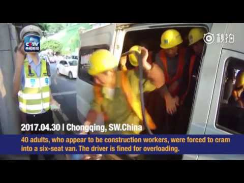 Cops stop van stuffed with 40 construction workers