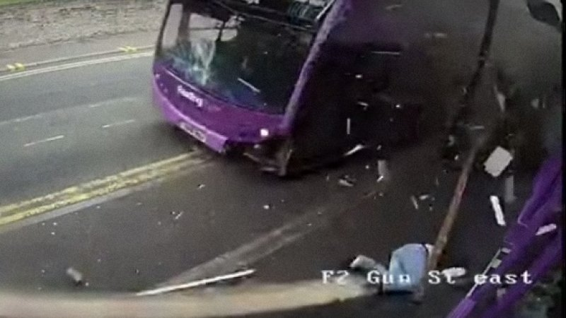 Watch Englishman get hit by a bus, stand up, walk into a pub