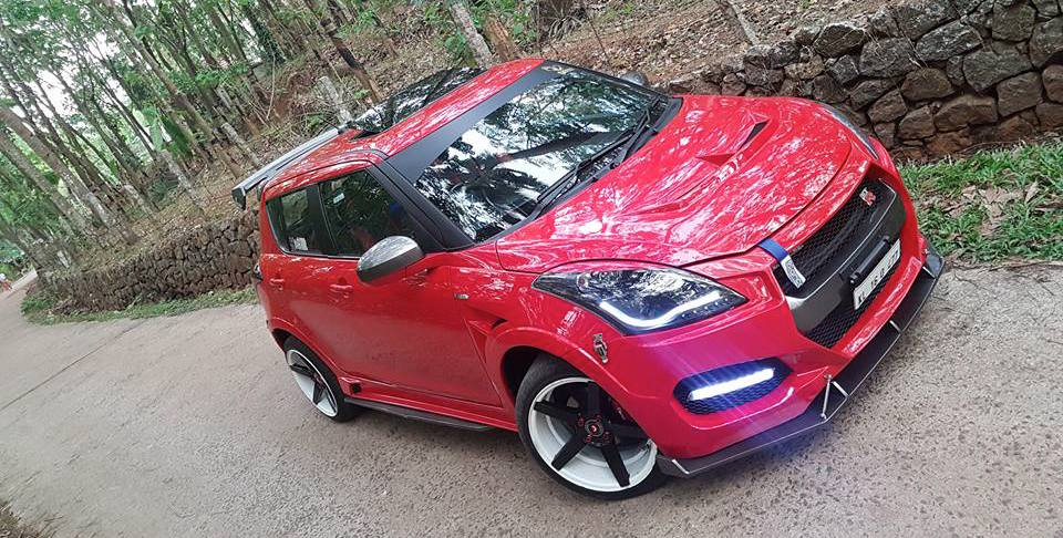 Maruti Swift modded to look like a Nissan GT-R