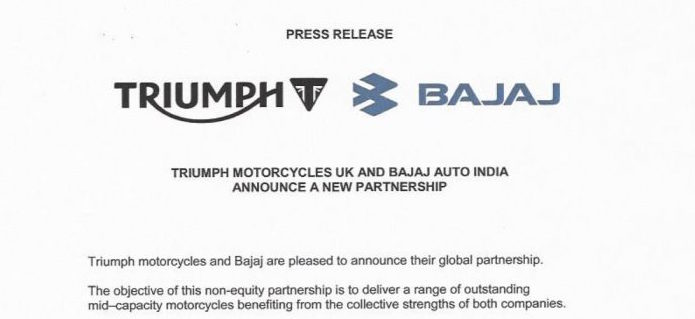 Bajaj Auto India and Triumph Motorcycles UK announce new partnership