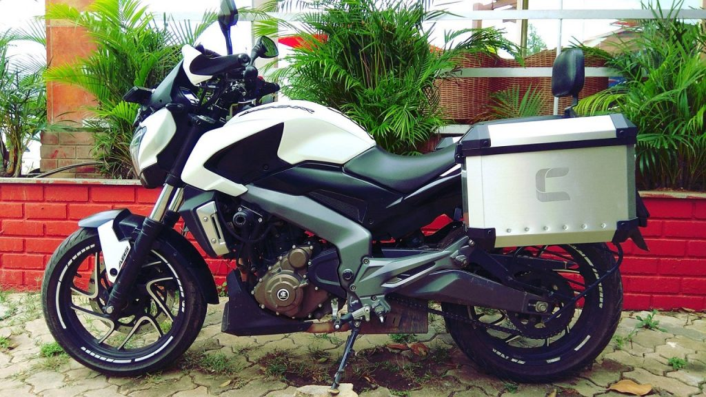 Bajaj Dominar 400 aircraft-grade aluminium panniers by Carbon Racing Inc