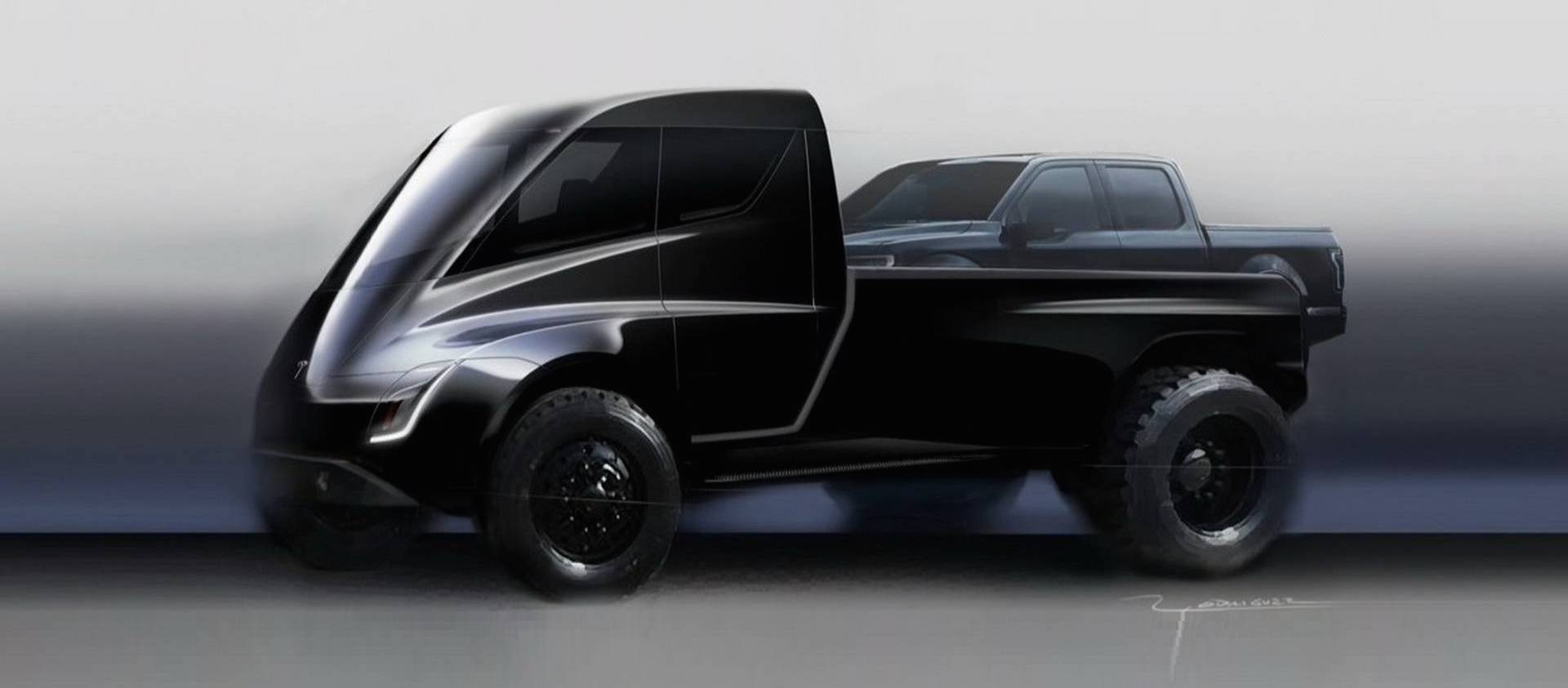 Tesla Pickup Truck Briefly Shown During Semi And Roadster Reveal