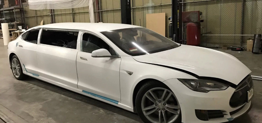 Now's your chance to pick up an almost-finished Tesla Model S stretch limo