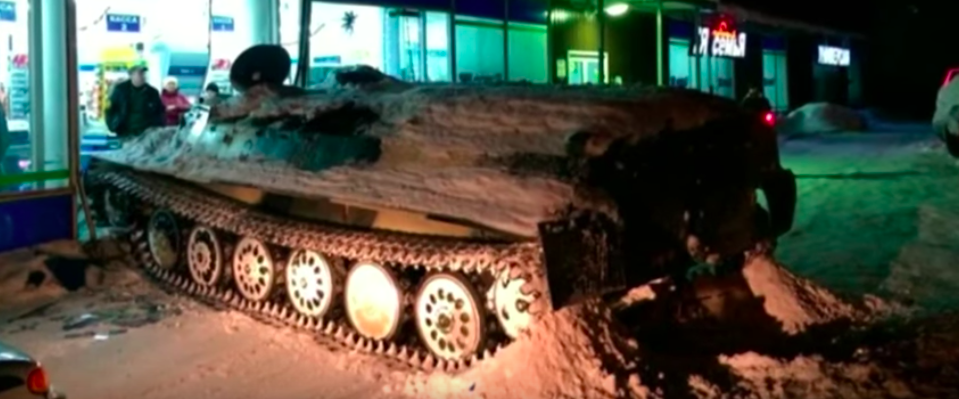 Russian man rams armored personnel carrier into shop, steals wine