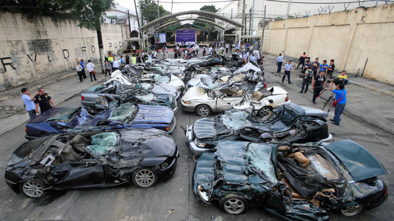 Duterte's demolition derby: 20 cars inexplicably smashed in Philippines