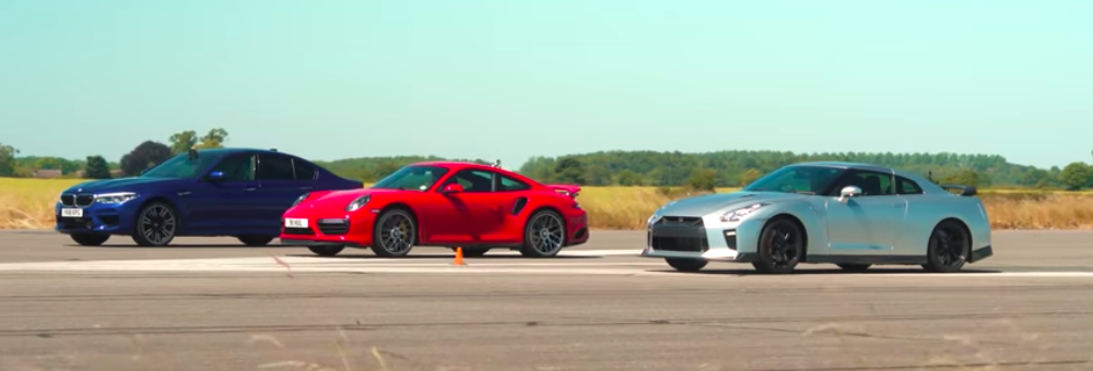 Porsche 911 Turbo S Drag Races BMW M5, Litchfield Nissan GT-R