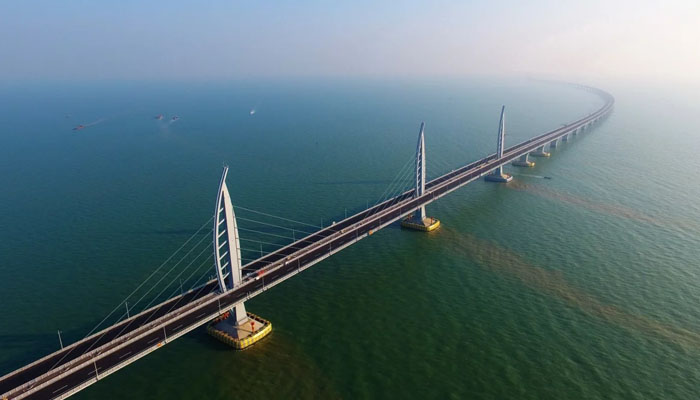 China took nine years to build the world's largest sea-crossing bridge