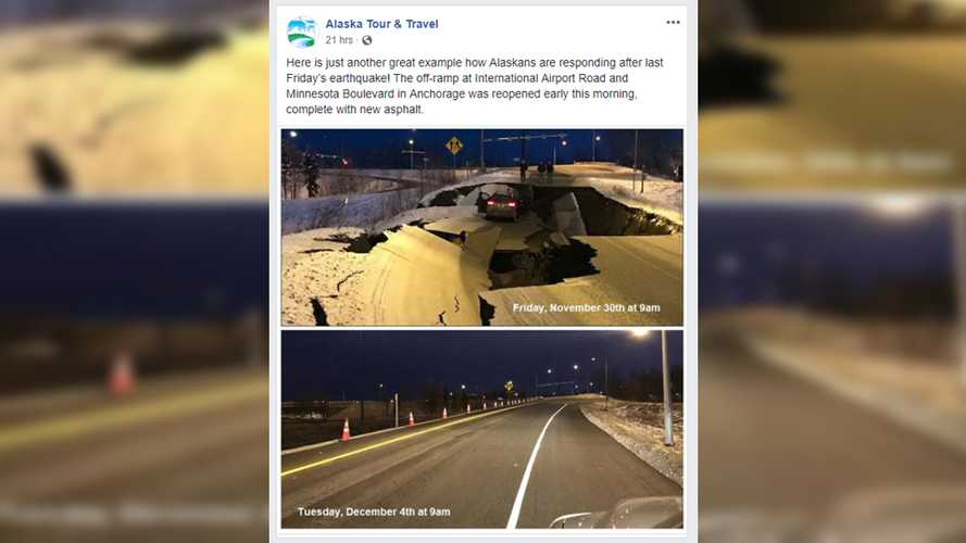 Quake-Damaged Road In Alaska Looks Like New Already