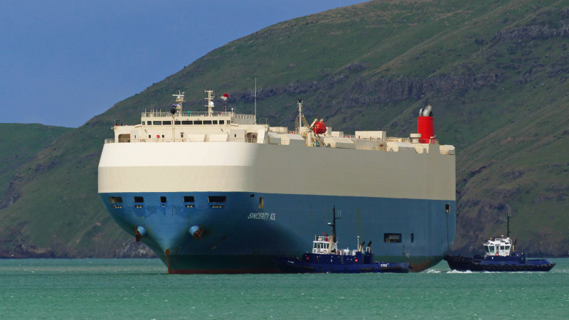 Car carrier ship burns in Pacific near Hawaii; most of the crew rescued