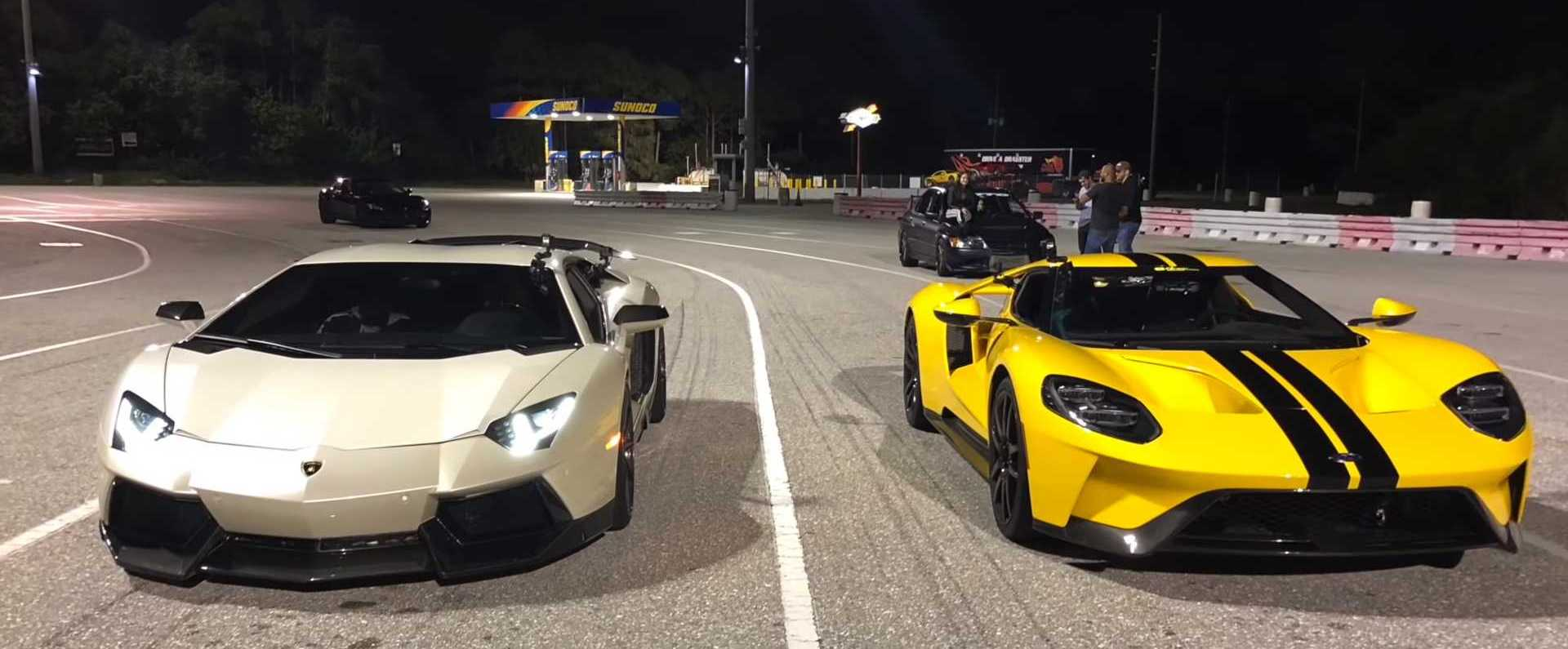 Ford GT Drag Races Aventador In A Quarter-Mile Showdown