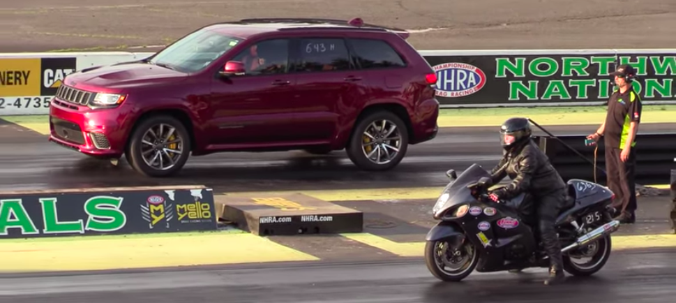 Jeep Trackhawk Drag Races Suzuki Hayabusa To An Odd Result