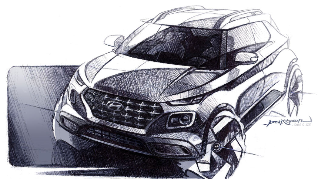 Hyundai Venue looks stocky, hard-edged in new sketches