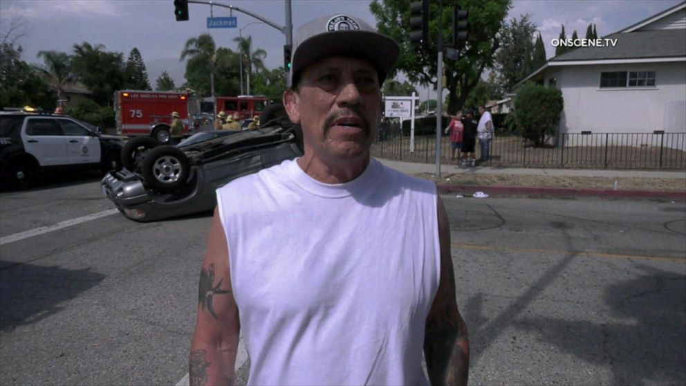 Danny Trejo frees young boy from overturned car