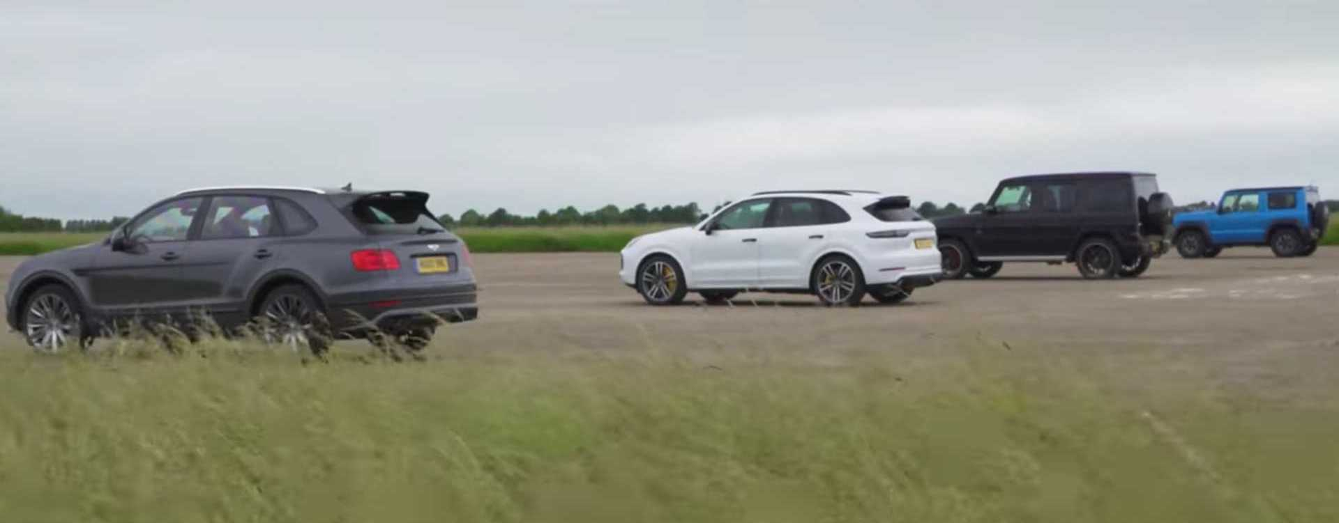 Bentayga Speed Drag Races AMG G63, Cayenne Turbo And… Jimny