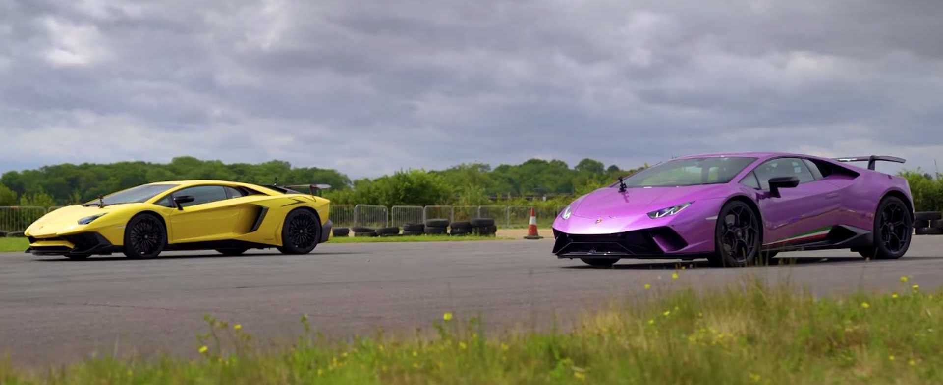 Aventador SV Drag Races Huracan Performante, Lamborghini Wins