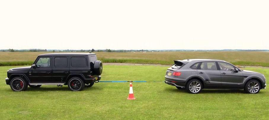 Mercedes-AMG G63, Cayenne Turbo And Bentayga Speed Duel In Tug-Of-War