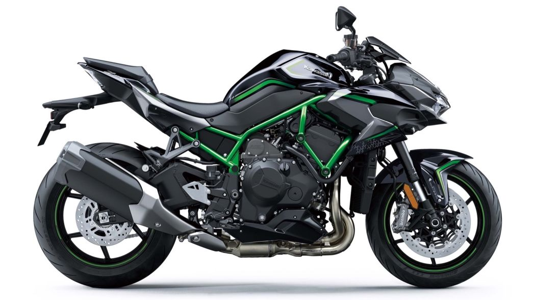 Kawasaki Z H2 is a supercharged naked bike wearing green