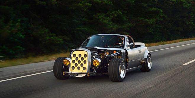 "Mazda Miata ""Hot Rod"" Has Ford 5.4L V8, Engine Compartment Exposed"