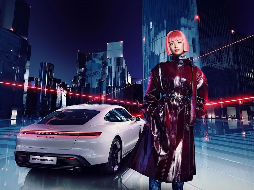 Japanese Model Imma (She's CGI) Gets a Porsche Taycan, Poses in Tokyo