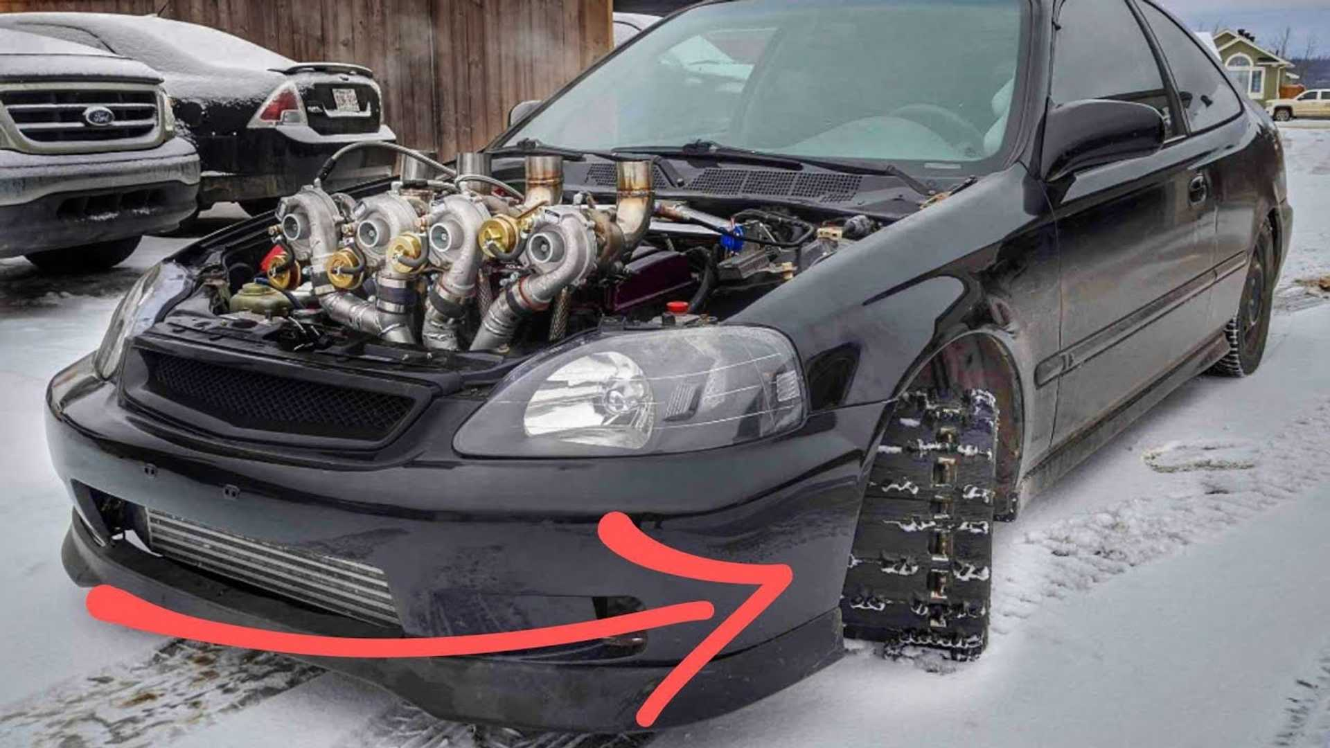 Bonkers Honda Civic Goes Anywhere With Four Turbos and Tank Tracks
