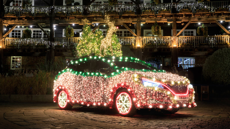 The Nissan Leaf Christmas Tree has light-up snowflake wheels