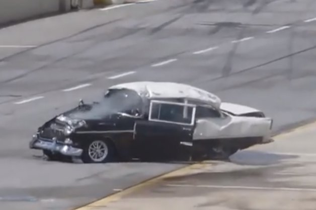 1955 Chevy Drag Racer Rolls His Car, Walks Away After Going Through Windshield