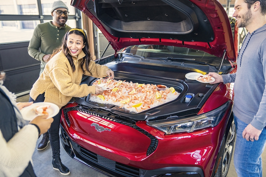 Ford Will Have You Eat Shrimp, Hot Wings Right Out the Frunk of the Mach-E