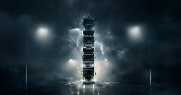 Volvo Stacks Four Trucks On Top Of Each Other In New Ad