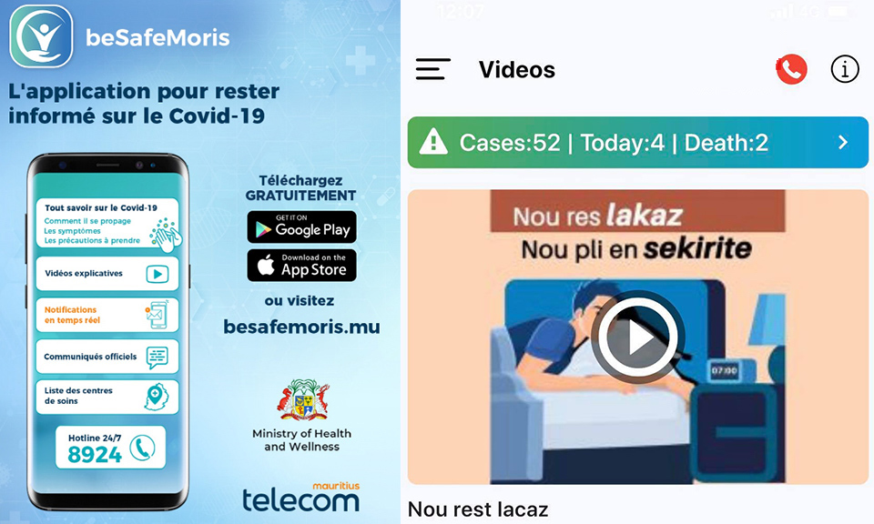beSafeMoris Mobile application on Covid-19 launched