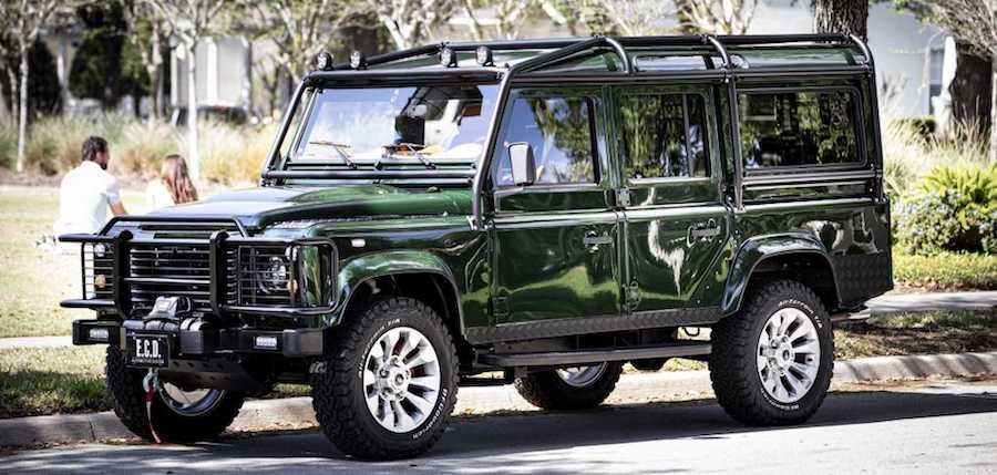 Custom LR Defender Combines LS3 Engine With Wine And Glass Cabinet