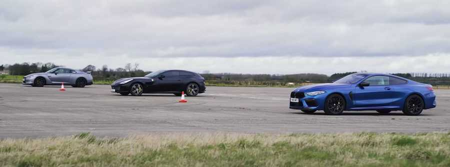 Tuned Nissan GT-R Faces BMW M8, GTC4Lusso In A Drag Race