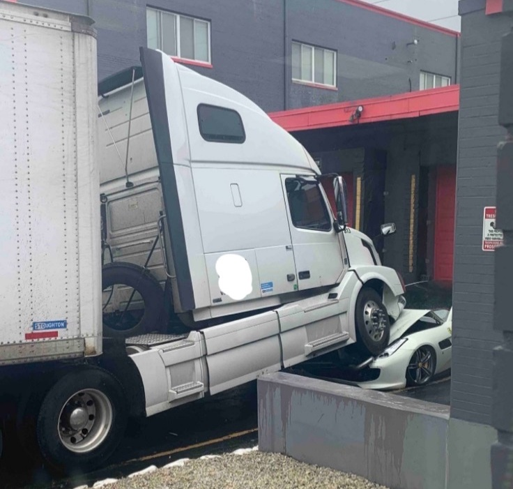 Disgruntled Truck Driver Parks His Semi On Boss's Ferrari
