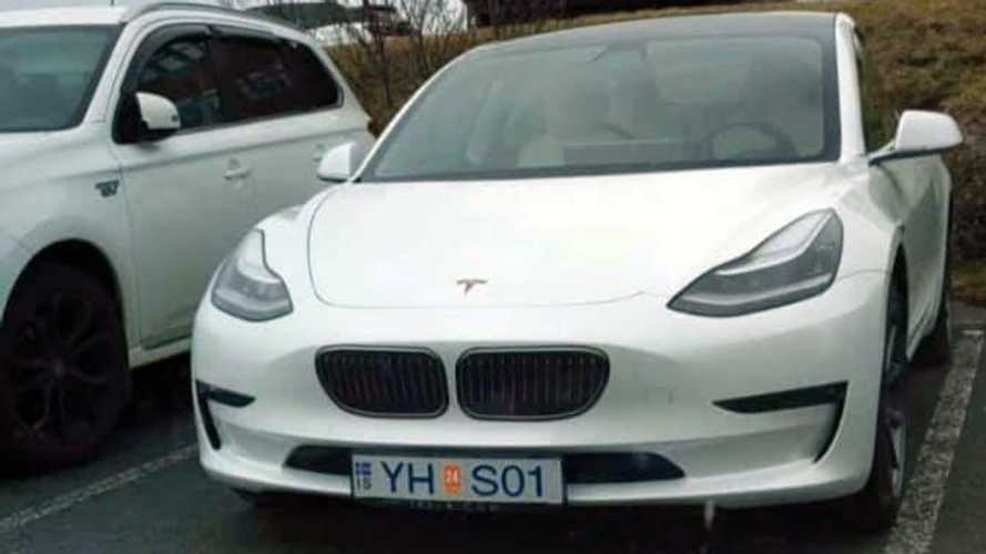 Tesla Owner Can't Wait For the i4, Puts BMW Grille On Model 3