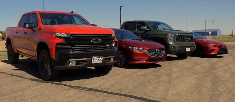 Toyota Camry TRD Drag Races Tundra TRD, Mazda6 Turbo and Silverado Join the War