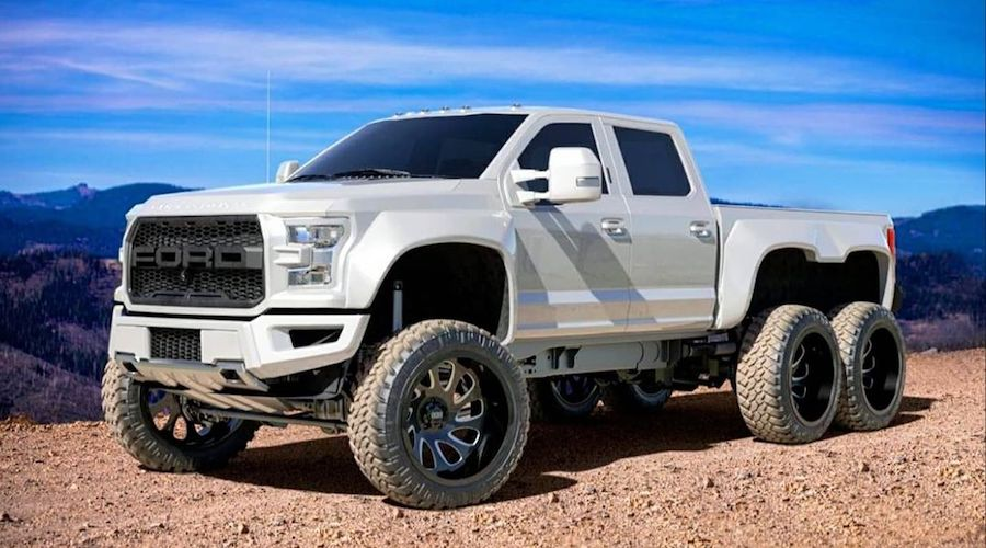 "Ford F450 ""Great White"" Is a 6x6 Land Shark, Was Headed to SEMA"