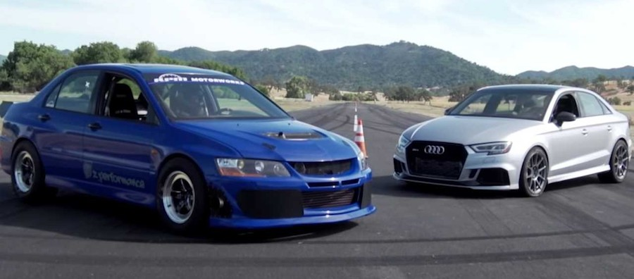 Audi RS3 Duels Mitsubishi Evo 8 In A Non-Rally Drag Race