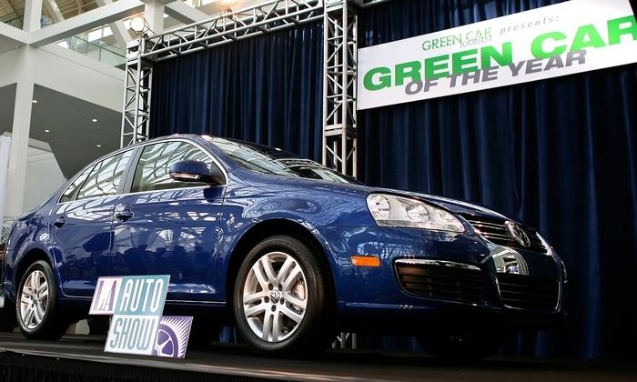 A 2009 VW Jetta TDI on display after being named Green Car of the Year by Green Car Journal in 2008.