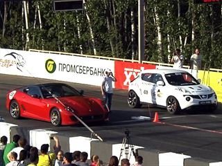 Stock Ferrari takes on pumped-up Juke-R and X6 M on the mile-long
