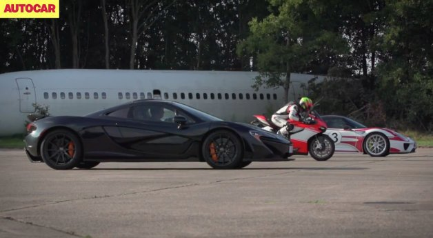 McLaren P1 vs Porsche 918 vs Ducati 1199 Superleggera in Epic Standing-Mile Drag Race
