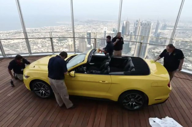 Watch Ford Build a Mustang Atop Burj Khalifa, World's Tallest Building