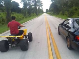 Street Race: Honda Civic Vs. ATV